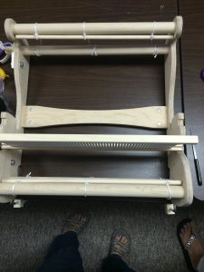 Here's the loom ready and waiting for us to warp it.