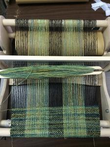 """Weaving in Progress on a 15"""" Cricket Loom"""