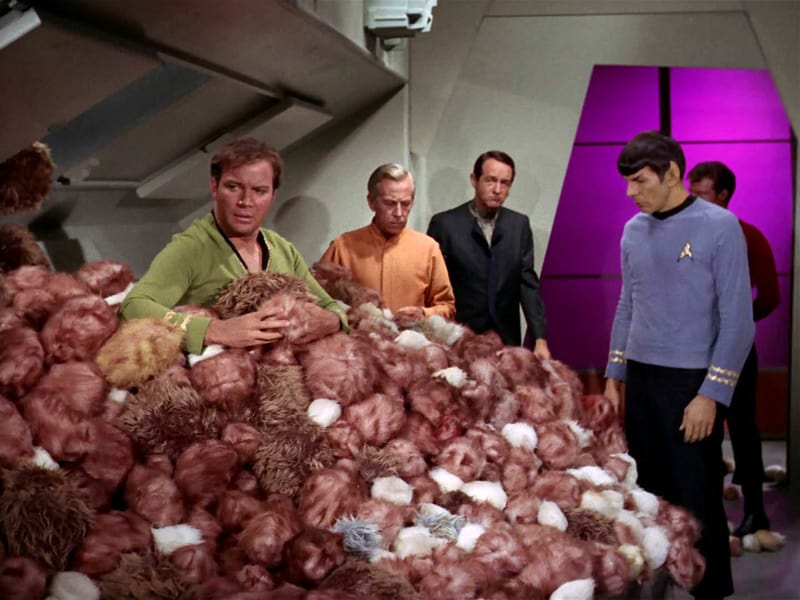 An iconic still from the original Star Trek series, season 2, episode 13: The Trouble with Tribbles.  This is the first Star Trek episode about tribbles.